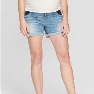 Maternity Inset Panel Midi Jean Shorts  16 or 18